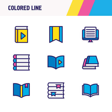 illustration of 9 book icons colored line. Editable set of player, library, article and other icon elements.