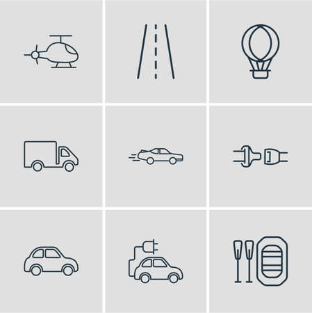 illustration of 9 transport icons line style. Editable set of rubber boat, truck, hot air balloon and other icon elements.