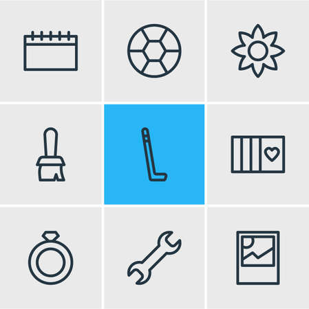 Vector illustration of 9 hobby icons line style. Editable set of football, calendar, ring and other icon elements. Banque d'images - 110014127