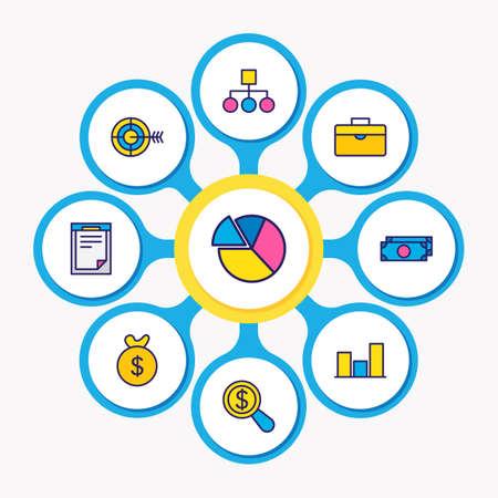 Vektor-Illustration von 9 Business Icons farbige Linie. Bearbeitbarer Satz von Balkendiagramm, Geldbeutel, Struktur und anderen Symbolelementen.