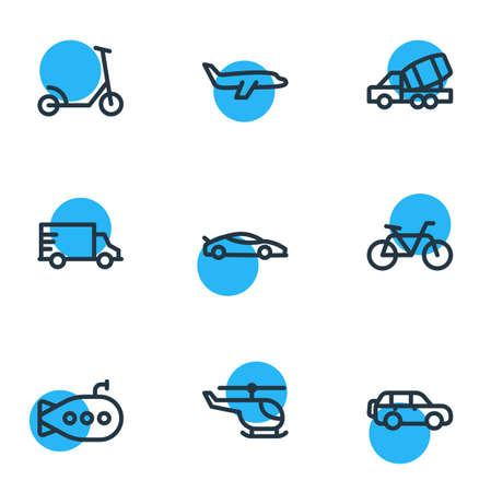 Vector illustration of 9 transit icons line style. Editable set of helicopter, plane, suv and other icon elements.