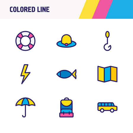 Vector illustration of 9 camp icons colored line. Editable set of fish, backpack, lifebuoy and other icon elements. Stock Vector - 110014147