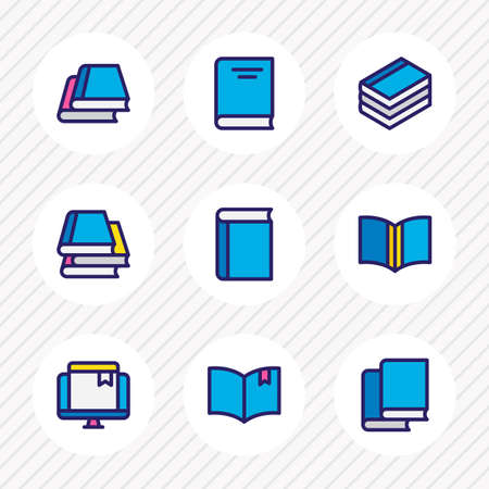 illustration of 9 book reading icons colored line. Editable set of book reading, textbook, library and other icon elements. Stock Photo