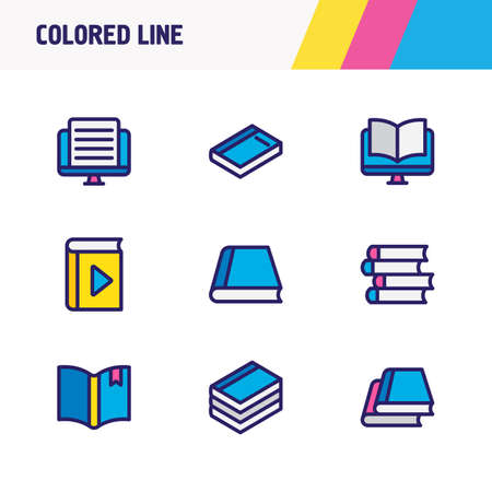 illustration of 9 book reading icons colored line. Editable set of dictionary, player, publish and other icon elements.