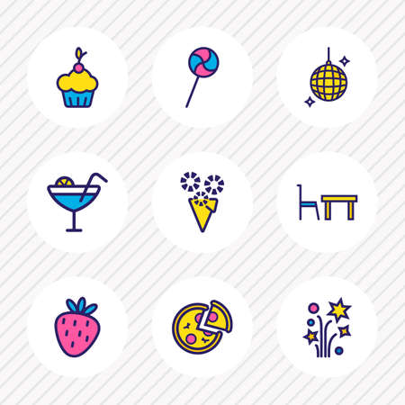 Vector illustration of 9 celebration icons colored line. Editable set of petard, strawberry, dining table and other icon elements.