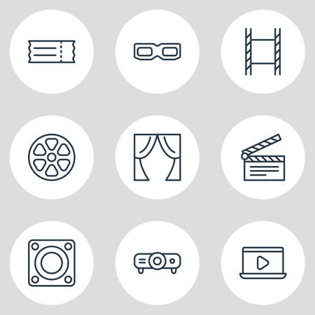 illustration of 9 movie icons line style. Editable set of projector, movie on laptop, ticket and other icon elements.