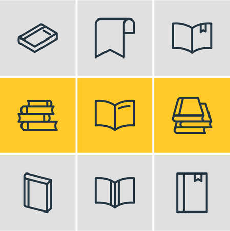 Vector illustration of 9 read icons line style. Editable set of book, handbook, ribbon icon elements.