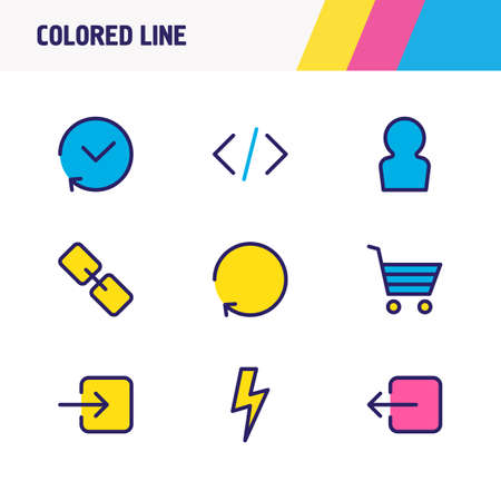 illustration of 9 app icons colored line. Editable set of sign in, sign out, history and other icon elements.