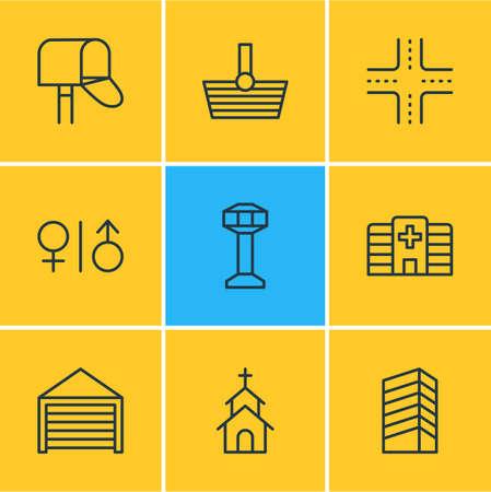 Ilustración de vector de estilo de línea de 9 iconos. Conjunto editable de hospital, compras, construcción y otros elementos de icono.