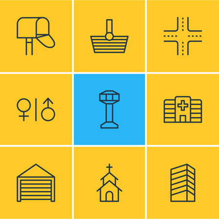 Vector illustration of 9 icons line style. Editable set of hospital, shopping, building and other icon elements.