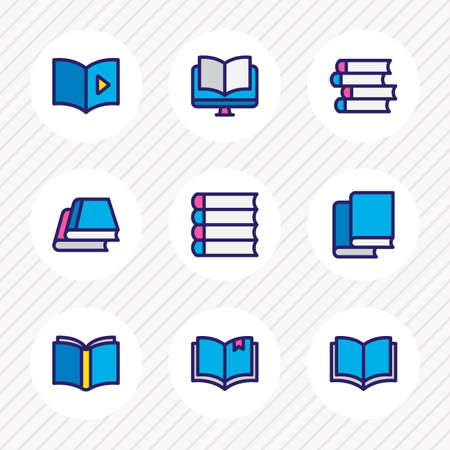 illustration of 9 book reading icons colored line. Editable set of schoolbook, library, audio book and other icon elements.