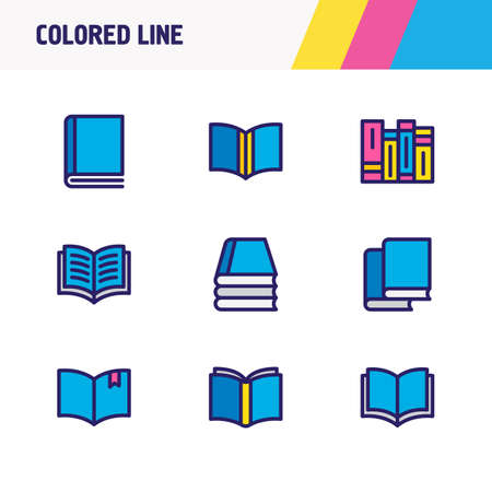 illustration of 9 book reading icons colored line. Editable set of learn, publishing, knowledge and other icon elements.