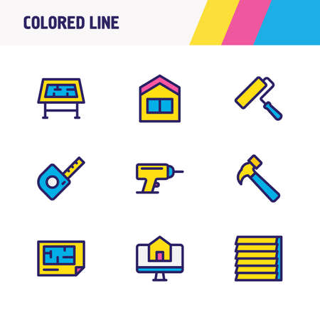 Vector illustration of 9 construction icons colored line. Editable set of window siding, hammer, drawing table and other icon elements.