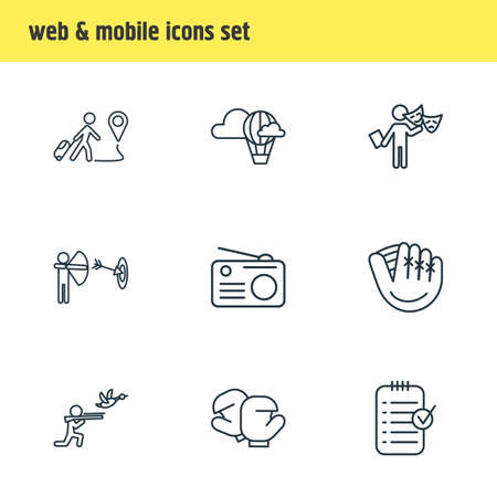 Vector illustration of 9 activities icons line style. Editable set of hot air balloon, radio, boxing and other icon elements. 矢量图像