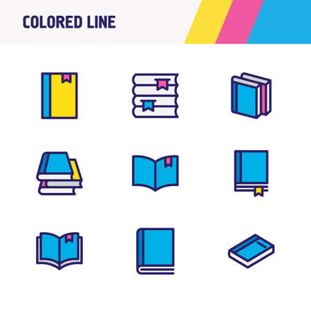 illustration of 9 book icons colored line. Editable set of book collection, book reading, copybook and other icon elements. Stock Photo