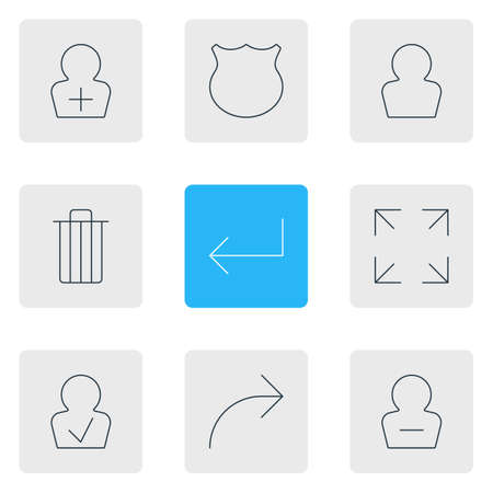 Vector illustration of 9 UI icons line style. Editable set of delete account, full screen, trash and other icon elements. Illustration