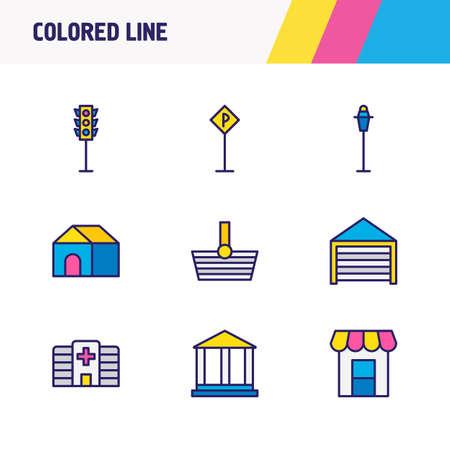 Vector illustration of 9 urban icons colored line. Editable set of traffic light, street light, garage and other icon elements. Ilustração