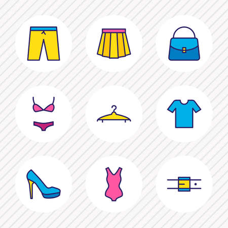 Vector illustration of 9 clothes icons colored line. Editable set of bikini, skirt, hanger and other icon elements.