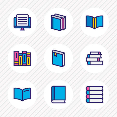 illustration of 9 read icons colored line. Editable set of article, tutorial, lecture and other icon elements.