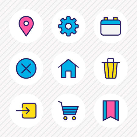 Vector illustration of 9 app icons colored line. Editable set of bookmark, sign in, cog and other icon elements.