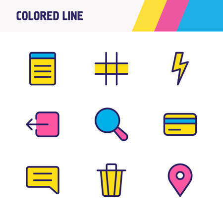 Vector illustration of 9 annex icons colored line. Editable set of sign out, grid, search and other icon elements.
