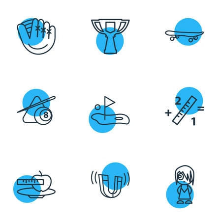 Vector illustration of 9 hobby icons line style. Editable set of math, billiard, skateboard and other icon elements. Vectores