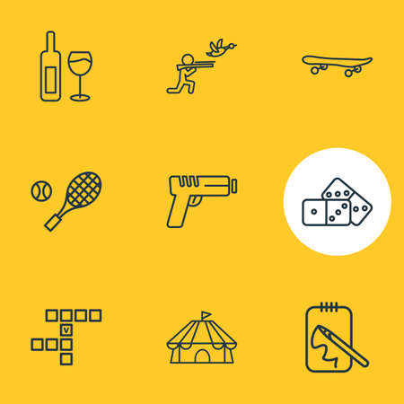 illustration of 9 activities icons line style. Editable set of tennis, skateboard, gun and other icon elements.