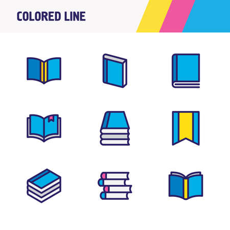 illustration of 9 read icons colored line. Editable set of bookmark, learn, publish and other icon elements. Stock Photo