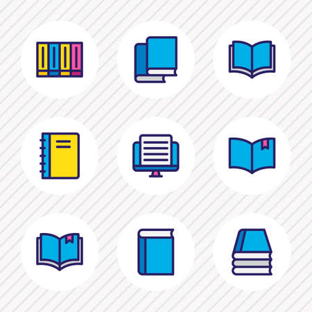 illustration of 9 read icons colored line. Editable set of spiral book, read, textbook and other icon elements. Stock Photo