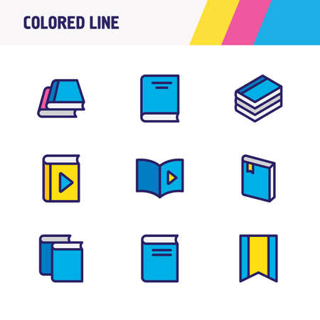 illustration of 9 book icons colored line. Editable set of bookmark, library, magazine and other icon elements.