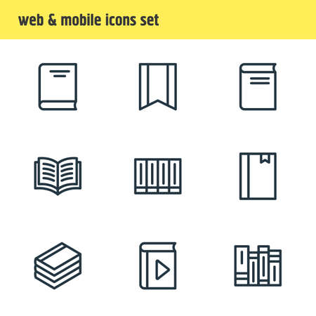 illustration of 9 book reading icons line style. Editable set of encyclopedia, notepad, publication and other icon elements.