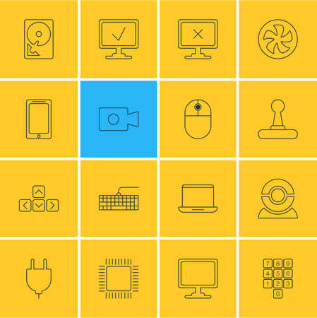 Vector illustration of 16 computer icons line style. Editable set of hdd, mobile phone, monitor and other icon elements. Illustration
