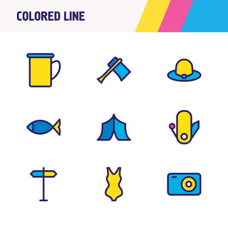 illustration of 9 tourism icons colored line. Editable set of mug, axe, fish and other icon elements.