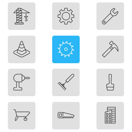 Vector illustration of 12 industry icons line style. Editable set of saw, brush, drill and other icon elements.