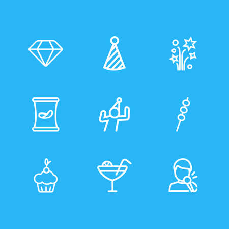 Vector illustration of 9 event icons line style. Editable set of muffin, petard, marshmallow and other icon elements. Illustration