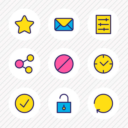 illustration of 9 annex icons colored line. Editable set of setting, check, ban and other icon elements.