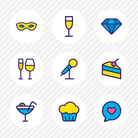 Vector illustration of 9 celebrate icons colored line. Editable set of cocktail, speech bubble, champagne and other icon elements.