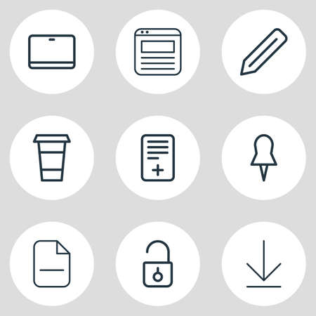 illustration of 9 office icons line style. Editable set of pen, unlock, browser tab and other icon elements. Stock Photo