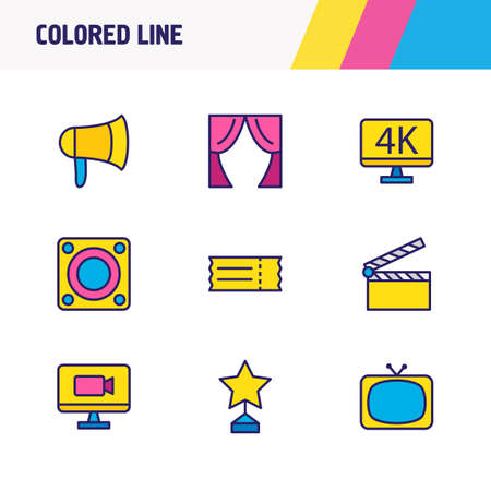 Vector illustration of 9 movie icons colored line. Editable set of online movie, curtains, bullhorn and other icon elements.