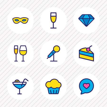illustration of 9 party icons colored line. Editable set of cocktail, speech bubble, champagne and other icon elements. Stock Photo