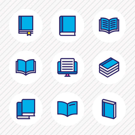 Vector illustration of 9 book icons colored line. Editable set of handbook, study, publishing icon elements. Illustration