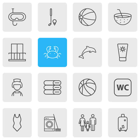 Vector illustration of 16 travel icons line style. Editable set of snorkeling, balcony, towels and other icon elements.