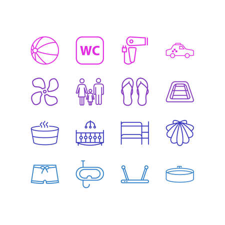 illustration of 16 tourism icons line style. Editable set of double decker bed, router, beach ball and other icon elements.