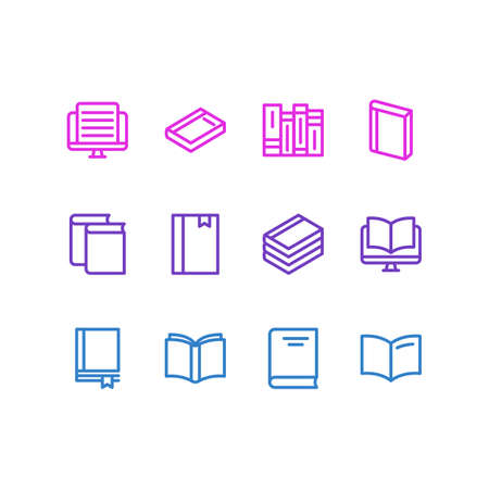 illustration of 12 book icons line style. Editable set of encyclopedia, document, dictionary and other icon elements. Stock Photo