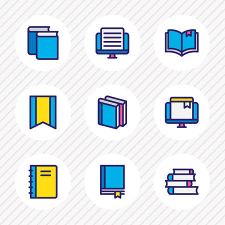 illustration of 9 book reading icons colored line. Editable set of magazine, literature, online bookmark and other icon elements.