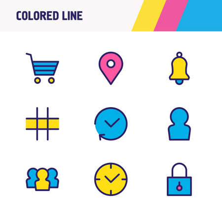 Vector illustration of 9 annex icons colored line. Editable set of grid, location, user and other icon elements.