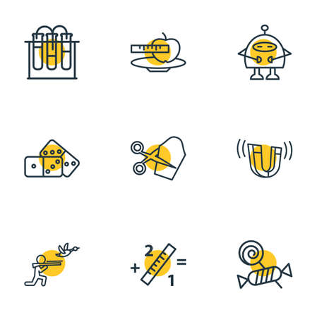 Vector illustration of 9 hobby icons line style. Editable set of domino, hunting, physics and other icon elements. Illustration