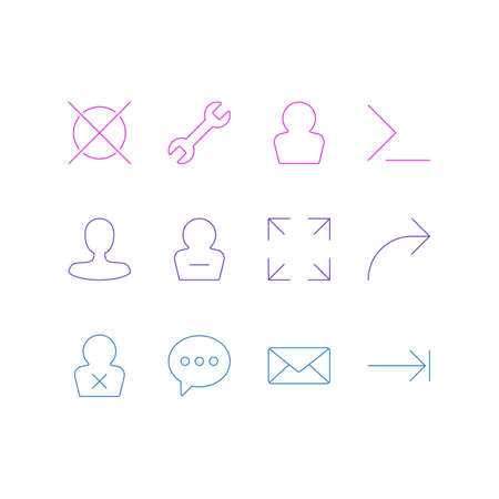 Vector illustration of 12 UI icons line style. Editable set of wrong, e-mail, tab key and other icon elements. 일러스트