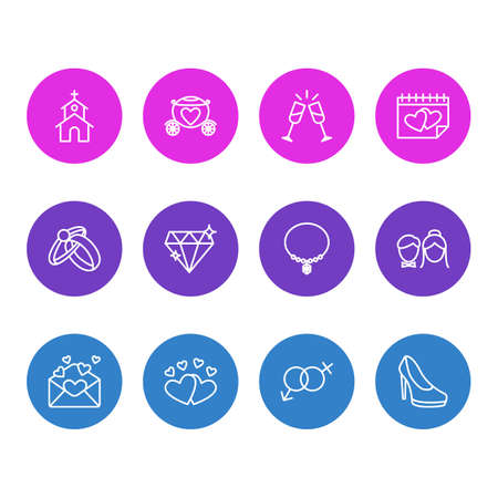 illustration of 12 marriage icons line style. Editable set of marriage day, diamond, invitation and other icon elements.