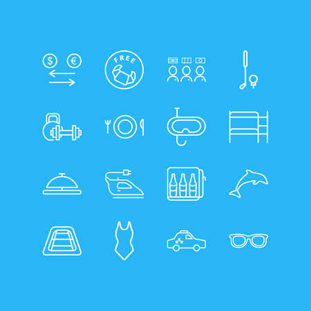 Vector illustration of 16 vacation icons line style. Editable set of exchange, dolphin, taxi and other icon elements.